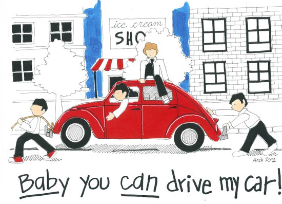 Les Petits - Baby You Can Drive My Car Art Print