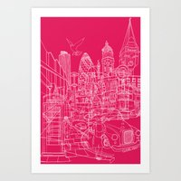 London! Hot Pink Art Print