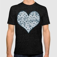 Blue stars on grungey textured white background Mens Fitted Tee Tri-Black SMALL