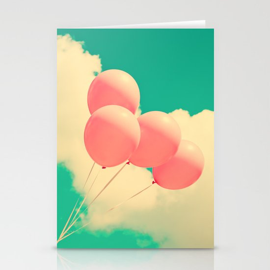 Happy Pink Balloons on retro blue sky  Stationery Card