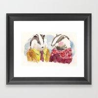 Badger Couple Framed Art Print
