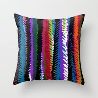 Hand drawn and digital multi scribble stripes Throw Pillow