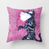 Black Dog Rampage Throw Pillow