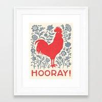 Hooray! rooster print Framed Art Print