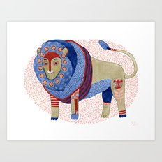 Blue Floral Lion Art Print