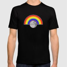 Death Star Rainbow Mens Fitted Tee Black SMALL