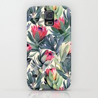 Galaxy S5 Cases featuring Painted Protea Pattern by micklyn
