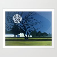 The Farm By Moonlight Art Print
