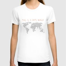 This is a Cat's World Womens Fitted Tee White SMALL
