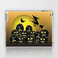 Laptop & iPad Skin featuring Pumpkins And Witch In Fr… by Wendy Townrow