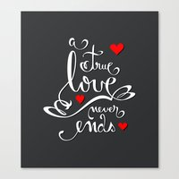 Valentine Love Calligraphy and Hearts V2 Canvas Print