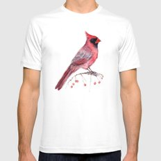 Red Cradinal SMALL Mens Fitted Tee White