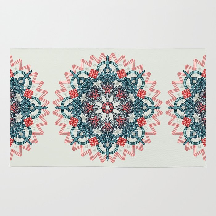 Coral & Teal Tangle Medallion Rug By Micklyn