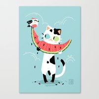 Watermelon Cat Canvas Print