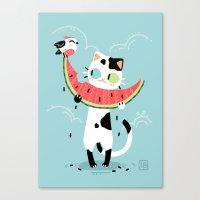 Watermelon Cat Canvas Print