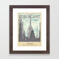 Retro Travel Poster Series - Star Wars - Coruscant Framed Art Print