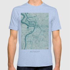 Antwerp Map Blue Vintage Mens Fitted Tee Athletic Blue SMALL