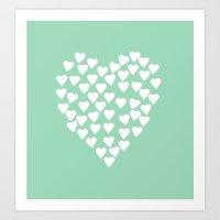 Hearts Heart White On Mi… Art Print