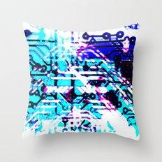 circuit board blue Throw Pillow
