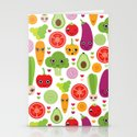 Veggie friends and smiley food Stationery Cards
