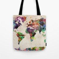 World Map Urban Watercolor Tote Bag