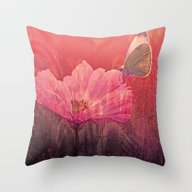 Throw Pillow featuring Butterfly On Summerflowe… by Die Farbenfluesterin