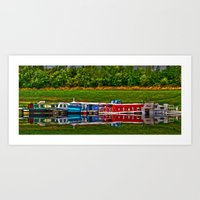 Barge Reflection Art Print