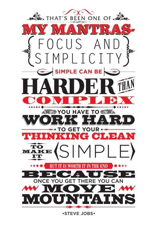 "Steve Jobs ""Focus and simplicity"" quote print Art Print"