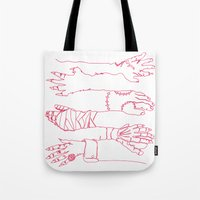 Classic Horror Hands (Red Line) Tote Bag