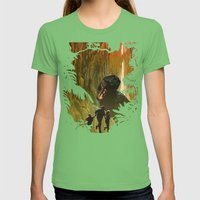 Dinosaur Poster Womens Fitted Tee Grass SMALL