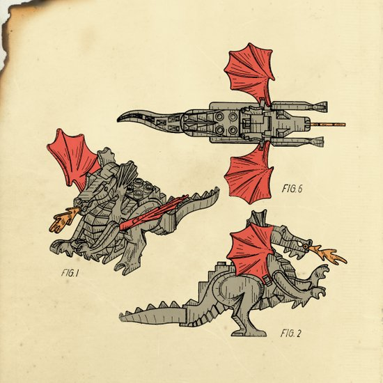 Lego Dragon Art Print