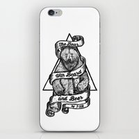 The Bear with Beard and Beer iPhone & iPod Skin