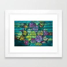 Shabby Colored Roses on Teal Wood Framed Art Print