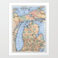 Michigan Railroad Map Art Print