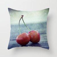 Cherry Kiss Throw Pillow