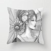 Elegant Oriental Japanese Geisha by Ashley Rose Standish Throw Pillow