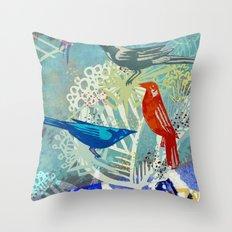 Birds in the backyard. Throw Pillow