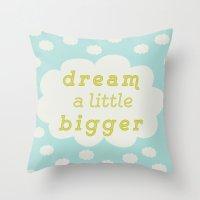 Dream bigger mint Throw Pillow
