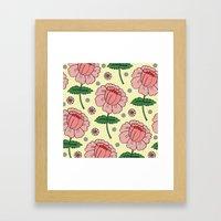 Cream Floral Polka Dot Framed Art Print