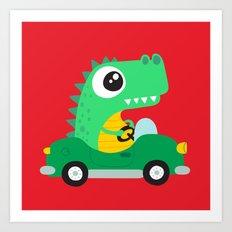 Dino Car Art Print