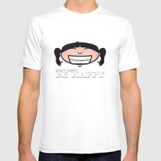 Be happy! White Mens Fitted Tee SMALL