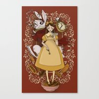 Alice and the white rabbit Canvas Print