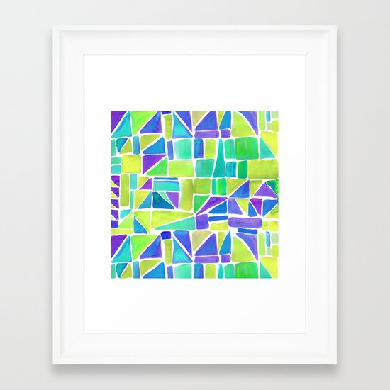 Watercolour Shapes Lemon Framed Art Print