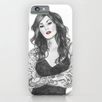 iPhone & iPod Case featuring Kat Von D Red Lips by Kim Jenkins