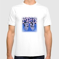 Leopard and Blue Glitters with Bow Mens Fitted Tee White SMALL