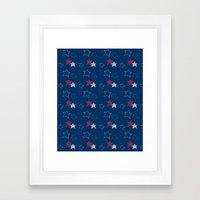 Red White & Blue Stars Framed Art Print