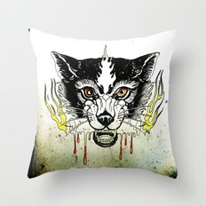 Space Cat King Fire Throw Pillow