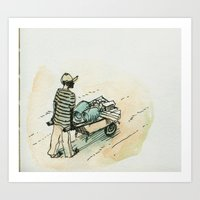 Wheelbarrow man - Cap Haitian Art Print