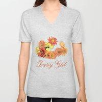 Daisy Girl. Orange, Yell… Unisex V-Neck