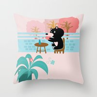 Drink a cup of coffee Throw Pillow